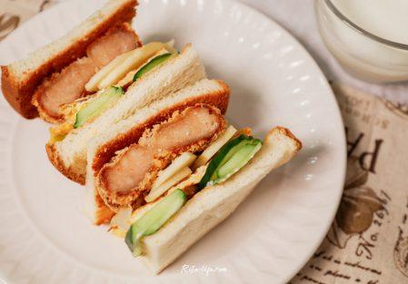 【懶人料理】花枝蝦排蔬果三明治,清爽不膩口/網路好評,創鮮家花枝蝦排
